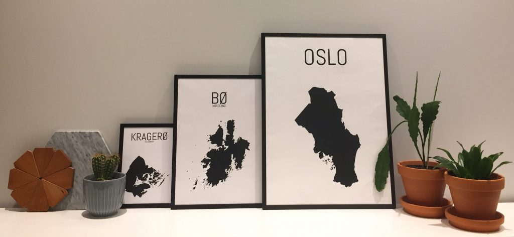 Plakat av kommunene Kragerø, Bø og Oslo